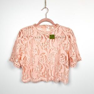 NWT Pink Floral Lace Short Sleeve Crop Top